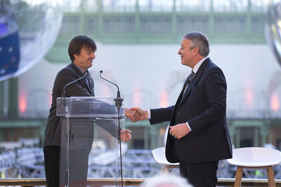 Antoine Frérot et Nicolas Hulot au Grand Palais